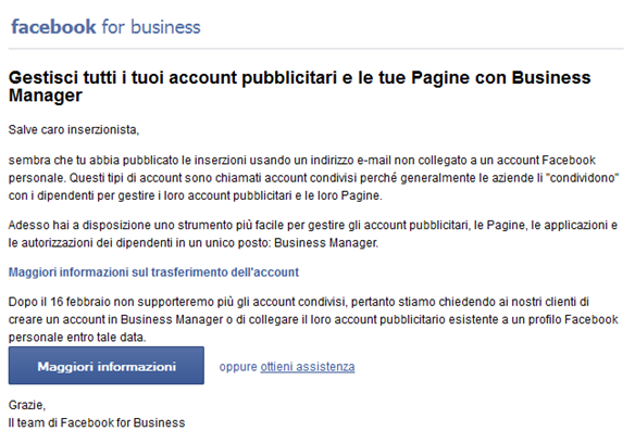 Email Business Manager 16 febbraio 2015